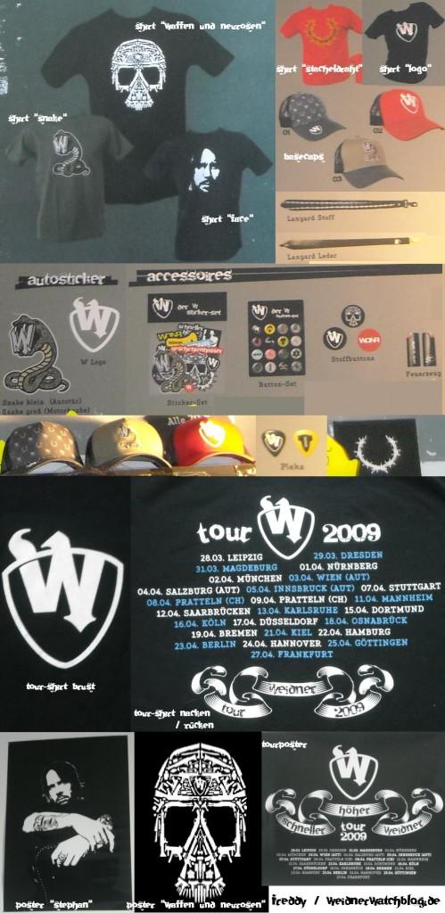 """erhältliches Merchandise """"Der W"""" auf der Tour"""
