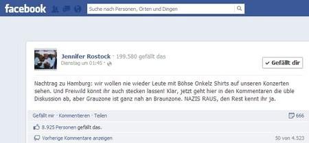 Jennifer Rostock auf Facebook